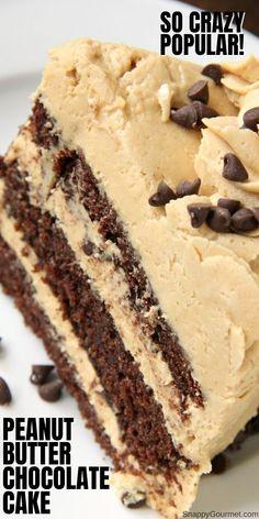 Peanut Butter Desserts, Chocolate Peanut Butter, Cake Chocolate, Chocolate Cake From Scratch, Peanut Butter Frosting, Easy Desserts, Delicious Desserts, No Bake Desserts, Dessert Recipes