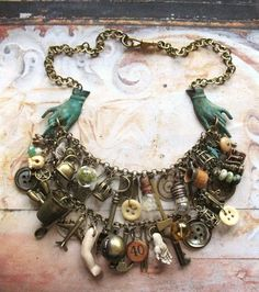 Romany Belle - Handmade Vintage Inspired Gypsy Bohemian Statement Charm Bib Necklace-love this Boho Jewelry, Jewelry Crafts, Jewelry Art, Beaded Jewelry, Vintage Jewelry, Jewelry Necklaces, Jewelry Design, Unique Jewelry, Jewellery Box