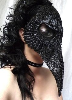 beaded plague mask