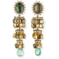 Alexis Bittar Tiered Starburst Chandelier Earrings (3,355 CNY) ❤ liked on Polyvore featuring jewelry, earrings, accessories, gold, spike earrings, cabochon jewelry, chandelier jewelry, alexis bittar jewelry and alexis bittar