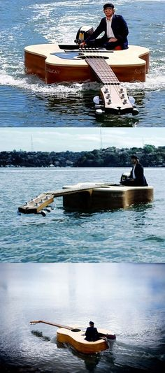 Awesome Guitar Boat. Yes...I could drive this around in my piano shaped pool!