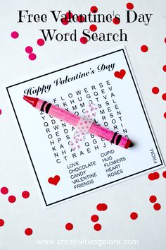 Free Valentine's Day Word Search by Creativities Galore: This valentine word sea. - Free Valentine's Day Word Search by Creativities Galore: This valentine word search is a great al - Valentines Word Search, Valentines Day Words, Kinder Valentines, Valentine Gifts For Kids, Valentines Flowers, Valentines Day Activities, Valentines Day Party, Valentine Day Crafts, Homemade Valentines