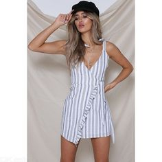 124a9f2435a $19.39 - Womens Striped Dress Sexy V-neck Strappy Dress With Side Ruffle -  Free