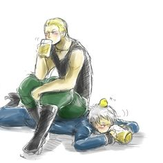 It's pretty hard to believe that Germany/Doitsu is Prussia's younger brother. I mean, come on! Look at them!