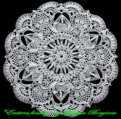 This doily was designed for a doily contest at Osinka published in 2012 here and later republished in Duplet magazine where it had been erroneously attributed to another designer, which had been corrected in a subsequent issue of the magazine.