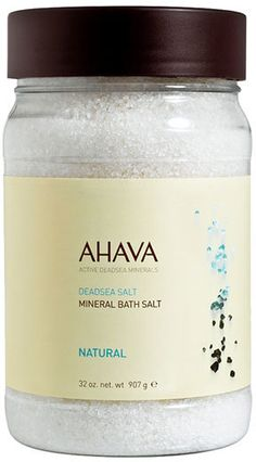 AHAVA Natural Mineral Bath Salt.  These bath crystals are the next best thing to visiting the Dead Sea. Rich in health-inducing minerals, these 100% pure Dead Sea salts contain 21 essential minerals. They condition skin by increasing moisture and nourishment levels, helping to ease muscle tension and soreness and relax both body and mind. Rich in health-enabling minerals, these natural crystals relax tight muscle and joints.