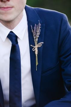 Lavender boutonniere (Florist: The Flowerman Columbus) - Intimate Ohio Wedding on a Thursday by Henry Photography - via ruffled