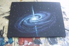 How to paint a Quasar in 10 minutes. Somebody asked me for a tutorial on how to paint a quasar. Here it is! 1. Paint your canvas black 2. Using really watered down white, paint the outline 3. Add some...