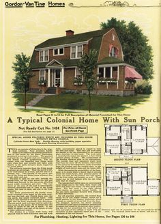 United States, Ready Cut A Dutch. - Vintage Home Plans Dutch Colonial Homes, Cottages And Bungalows, Painted Ladies, Building Plans, Second Floor, Gingerbread, House Plans, Floor Plans, United States