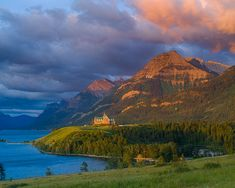 The Prince of Wales hotel, Waterton Lakes National Park, Alberta, Canada, first light, stormy, , photo