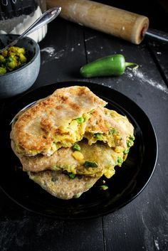 Spiced Potato and Pea Parathas {Katie at the Kitchen Door} #Indian #recipe