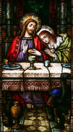 St John at the Last Supper Stained Glass Church, Stained Glass Art, Stained Glass Windows, Catholic Art, Religious Art, Mary Magdalene And Jesus, St John's, Painting On Glass Windows, St John The Evangelist