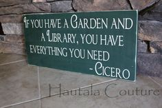 Rustic Typography Garden Library Wall Art by hautalacouture, $35.00