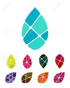 Diseño Logo Vector Gota De Agua O Elemento Hoja Modelo Abstracto Colorido, Conjunto De Iconos Que Puede Utilizar En La Protección Del Medio Ambiente, Recuperación De Recursos, El Agua, Y La Imagen Comercial De Otro Ilustraciones Vectoriales, Clip Art Ve