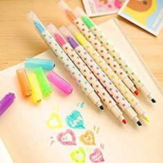 Amazon.com : KitMax (TM) Pack of 12 Pcs Cute Cool Candy Color Erasable Highlighter Pen Office School Supplies Students Children Gift (6 Different Colors) : Office Products