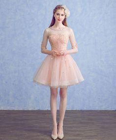 Description Cute round neck tulle applique short prom dress, pink homecoming dress, customized service and Rush order are available Wedding Dresses With Flowers, Pink Prom Dresses, Grad Dresses, Pretty Dresses, Homecoming Dresses, Bridal Dresses, Short Dresses, Dress Out, Lace Dress