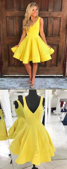 Homecoming Dress V neck,homecoming dress Sleeveless,Short Prom Dress,yellow Party Dress,yellow prom dress,prom dresses short,prom dress yellow #annapromdress #homecomingdress #homecoming #shortdress #shortpromdress #partydress #party #prom #fashion #style #dress