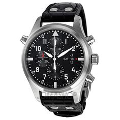 IWC Pilots Black Dial Leather Mens Watch IW377801