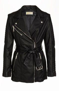 MICHAEL Michael Kors Belted Leather Moto Jacket | @Nordstrompinfashionblog