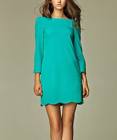 This Sea Scalloped Crew Neck Dress by NIFE is perfect! #zulilyfinds