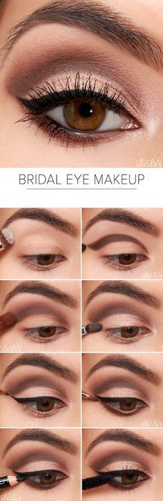 #Bridal Eye Makeup will add an elegant touch to your special #occasion! This lovely neutral eye includes shades of deep mocha brown and shimmering champagne for the perfect bridal combination.