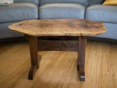 Maple burl coffee table with cherry base live edge coffee table