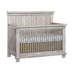 Soho Baby Hampton 4-In-1 Convertible Crib In Stonewash - Furnish your nursery with the modern, rustic appearance of the Hampton Convertible Crib from Soho Baby. With classic clean lines and a solid headboard, this functional crib converts to a toddler, day, and full-size bed, delivering years of usage. Baby Crib Diy, Baby Nursery Diy, Baby Nursery Furniture, Nursery Room Decor, Baby Boy Rooms, Nursery Ideas, Girl Nursery, Bear Nursery, Babies Nursery