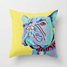 """16x16"""" Throw Pillow Cover featuring a French Bulldog Portrait"""