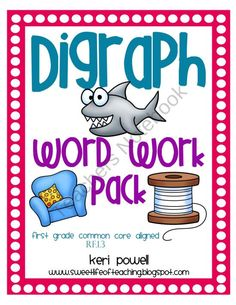 Digraph Word Work pack aligned to 1st grade common core. Bright  fun graphics for your visual learners. Instant small group or literacy center activities!
