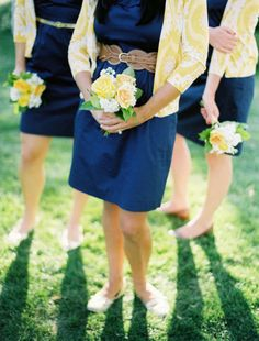 Navy and mustard maids look. Navy dresses and fun cardigans. J. Crew.