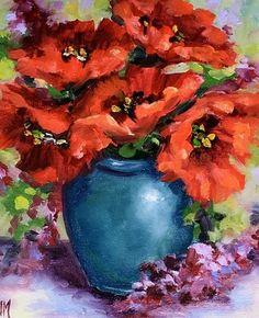 Tiny Red Poppies and Lilacs by Nancy Medina