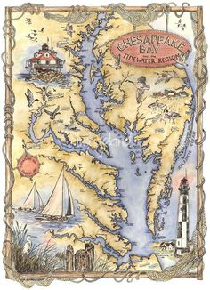 early 1900s map of chesapeake bay md | Illustrated Chesapeake Bay Map by Sharon Himes, Pocomoke Forest