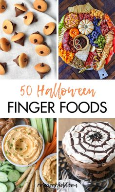 50 Halloween finger foods for your Halloween parties! Halloween- and fall-themed appetizers, dips, desserts, and more. #Halloween #Halloweenfood #appetizerideas #fingerfoods Halloween Fingerfood, Halloween Appetizers, Finger Food Appetizers, Halloween Parties, Finger Foods, Appetizer Recipes, Appetizer Ideas, Halloween Foods, Halloween Desserts