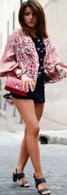 Free People Red Multi Tribe Kimono Blouse by Lovely Pepa