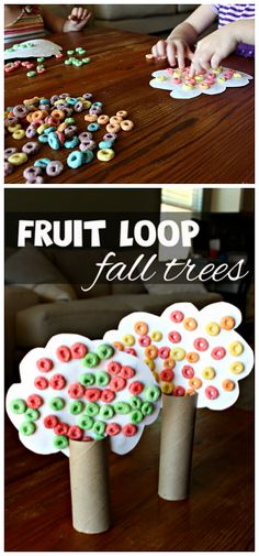 Toilet Paper Roll Fall Tree Craft Using Fruit Loops! #Fall craft for kids to make! | CraftyMorning.com