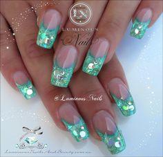 Luminous Nails: Soft Green and Silver Acrylic and Gel Nails Silver Nails, Glam Nails, Hot Nails, Fancy Nails, Beauty Nails, Fingernail Designs, Gel Nail Designs, Fabulous Nails, Perfect Nails