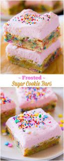 Frosted Sugar Cookie Bars Dessert Recipe via Sally's Baking Addiction - Wow! Sugar cookies where the frosting is as thick as the cookie! (quick easy desserts for a crowd) Sugar Cookie Bars, Sugar Cookie Frosting, Vanilla Frosting, Frosted Sugar Cookies, Baking Recipes, Cookie Recipes, Dessert Recipes, Bake Sale Recipes, Bar Recipes