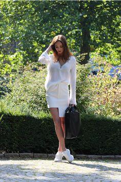 white shirt + white pencil skirt + white sneakers <3
