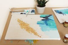 DIY Abstract Art With A Golden Touch » Lolly Jane