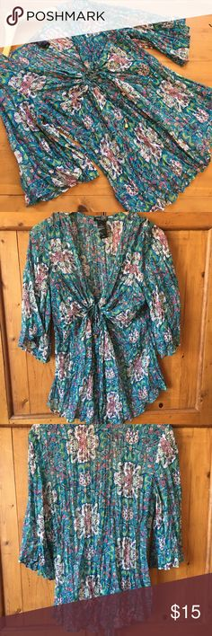 Bisou Bisou Boho Floral Top Excellent excellent condition qauzey material 26 inches long  sleeves 16 inches long has it drawstring to loosen or tighten bust area 18 inch bust flat measurements brass hardware very pretty wonderful color super cute Bisou Bisou Tops Blouses