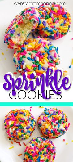 These sprinkle cookies are so fun, colorful and delicious! They are easy to make… These sprinkle cookies are so fun, colorful and delicious! They are easy to make and sure to be a hit with kids and adults alike! Easy Desserts For Kids, Cookie Recipes For Kids, Delicious Cookie Recipes, Cookies For Kids, Desserts To Make, Yummy Cookies, Easy Baking For Kids, Colorful Desserts, Fun Recipes