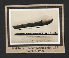 (111cents) Germany 1932 Small Photo Zeppelin LZ 1 4cm x 6cm