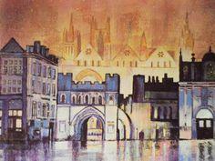 peterborough cathedral at night - commission - visit http://www.karenjanegreen.com/apps/webstore/ for similar artwork