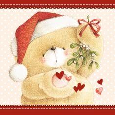 Kerstkaart - beer-blaast-hartjes