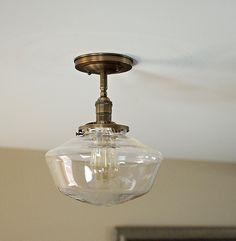 "Schoolhouse Glass 10"" clear Shade Flush or Semi-Flush Mount Light Fixture**SALE! 10% off!  use code:  handblown10** by OldeBrickLighting on Etsy https://www.etsy.com/listing/292452201/schoolhouse-glass-10-clear-shade-flush"