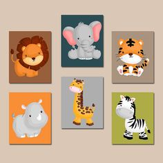 JUNGLE Animal Wall Art Baby Boy Animal Nursery Artwork
