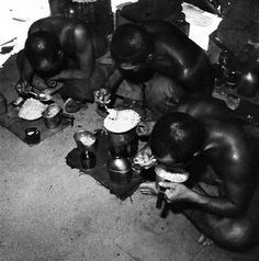 Japanese soldiers at Prisoner-of-War Camp on Guam Island devour U. Army rations as they wear U. Marine clothing, November Photographed by Lieutenant Wayne Miller. Marine Clothing, Wayne Miller, Marine Outfit, Prisoners Of War, Guam, Soldiers, Religion, November, Army