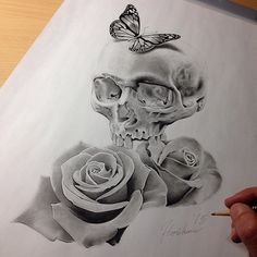 Skull roses butterfly tattoo drawing
