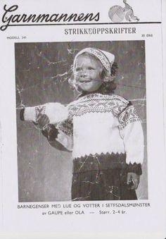 Barnegenser med lue og votter G 241 - Garnmannen Norwegian Knitting, Colour Combinations, Vintage Knitting, Jumpers, Knitting Patterns, Children, Color, Tricot, Threading