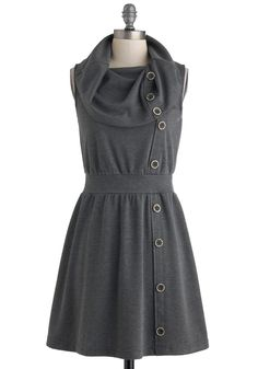 Tricks of the Trade Show Dress - Short, Grey, Solid, Buttons, Casual, A-line, Sleeveless, Cowl, Vintage Inspired